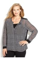 Michael Kors Michael Plus Size Longsleeve Printed Zipfront Shirt - Lyst
