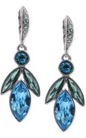Givenchy Silvertone Blue Crystal Drop Earrings - Lyst