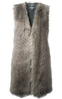 DKNY Faux Fur Long Vest - Lyst
