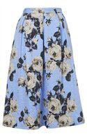 Topshop Rose Texture Midi Skirt - Lyst