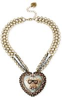 Betsey Johnson Gold-tone Crystal Bulldog Cameo Pendant Necklace - Lyst