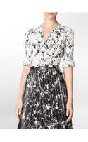 Calvin Klein Marble Print Mandarin Collar Roll-up Sleeve Top - Lyst