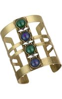 Sam Edelman Gold Tone and Multi Color Stone Cuff Bracelet - Lyst
