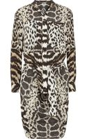 Roberto Cavalli Printed Silk Crepe De Chine Shirt Dress - Lyst