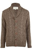 River Island Light Brown Cable Knit Cardigan - Lyst
