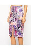 Asos Scuba Pencil Skirt in Geotribal Print - Lyst
