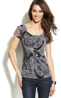 Inc International Concepts Printed Capsleeve Peasant Top - Lyst
