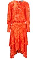 Preen Orange Semi Sheer Naboo Dress - Lyst