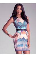 Bebe Print Scuba Peplum Dress - Lyst