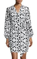 Diane Von Furstenberg Lanternsleeve Belted Faille Dress - Lyst