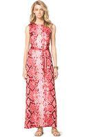 Michael Kors Michael Snakeprint Maxi Dress - Lyst
