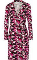 Diane Von Furstenberg Jeanne Printed Jersey Wrap Dress - Lyst