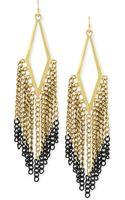 BCBGeneration Goldtone Hematite Kite Fringe Earrings - Lyst