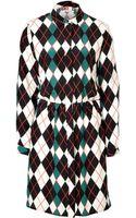 MSGM Silk Argyle Shirtdress - Lyst
