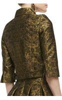 Oscar de la Renta 34sleeve Cropped Brocade Jacket - Lyst