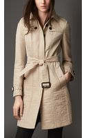Burberry Long Ribbed Trench Coat - Lyst
