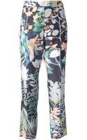 Emporio Armani Floral Print Trousers - Lyst