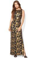 Lauren by Ralph Lauren Sleeveless Metallic Floralprint Gown - Lyst