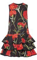 Dolce & Gabbana Floral-print Cotton Mini Dress - Lyst