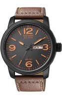 Citizen Mens Ecodrive Brown Leather Strap Watch 39mm 26e - Lyst