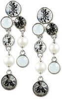 Givenchy Silvertone Imitation Pearl and Crystal Cluster Drop Earrings - Lyst