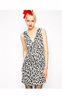 Love Moschino Leopard Print Sleeveless Dress with Rouched Detail - Lyst