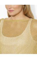 Lauren by Ralph Lauren Pointelle Knit Metallic Poncho - Lyst