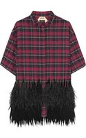 No 21 Clara Feather-trimmed Plaid Cotton-flannel Shirt - Lyst