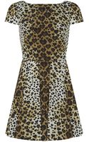 RED Valentino Heart Print Leopard Pleated Dress - Lyst