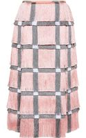 Marco De Vincenzo Fringe Cady Midi Skirt in Pink - Lyst