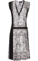 J. Mendel Lace Inset Printed Silk Dress - Lyst