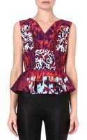 Peter Pilotto Printed Peplum Top Water Orchid - Lyst