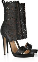 Oscar de la Renta Charlotte Laser-cut Leather Sandals - Lyst