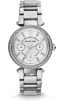 Michael Kors Mini Parker Pavé-embellished Silver-tone Stainless Steel Watch - Lyst