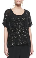 Eileen Fisher Sequined Chiffon Boxy Top Black - Lyst