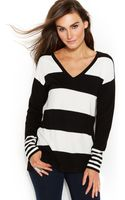 Vince Camuto Mixed-stripe V-neck Sweater - Lyst