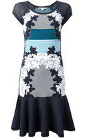 Diane Von Furstenberg Floral Print Mesh Sleeve Dress - Lyst