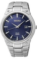 Seiko Stainless Steel Round Watch with Navy Dial - Lyst