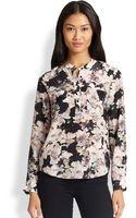 Rebecca Taylor Floral-print Silk Blouse - Lyst
