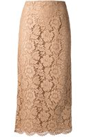 Valentino Long Lace Pencil Skirt - Lyst