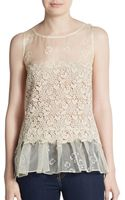RED Valentino Lace Paneled Silk-gauze Peplum Top - Lyst