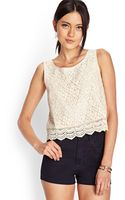 Forever 21 Floral Crochet Lace Top - Lyst