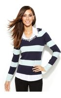 Inc International Concepts Petite Layeredlook Rhinestoneembellished Sweater - Lyst
