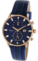 Kenneth Cole Womens Chronograph Blue Lizardembossed Leather Strap 42mm - Lyst