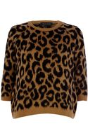 River Island Brown Leopard Print Fluffy Brushed Jumper - Lyst