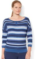 Lauren by Ralph Lauren Plus Waffleknit Ombrã Striped Shirt - Lyst