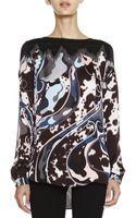 Emilio Pucci Mixed-print Silk Charmeuse Top - Lyst