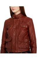 Polo Ralph Lauren Cropped Laceup Leather Moto Jacket - Lyst