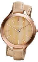 Michael Kors Midsize Rose Gold Leather Slim Runway Threehand Watch - Lyst