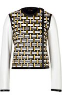 Fendi Leather Woven Front Jacket - Lyst